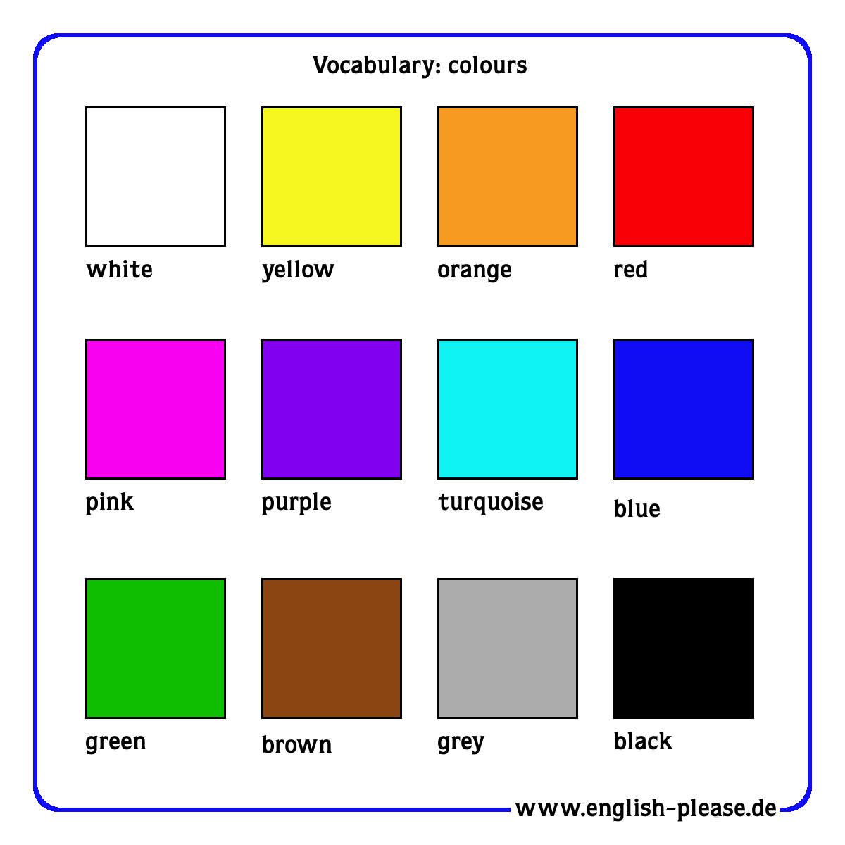 Farbe Auf Englisch